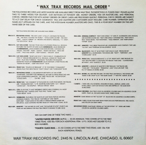 Wax Trax 1986 Insert Back